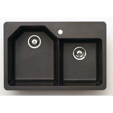 "Offset 33"" x 20"" Granite Double Bowl Kitchen Sink"