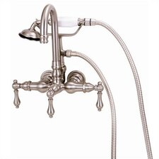 Wall Mount Gooseneck Tub Faucet with Hand Shower and Metal Lever Handles