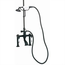 Deck Mount Tub Faucet with Hand Shower and Porcelain Lever Handles for Shower System
