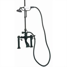 Deck Mount Tub Faucet with Hand Shower and Metal Cross Handles