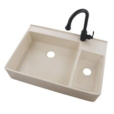 "32.75"" x 20"" Apron Front Fireclay Undermount Double Bowl Kitchen Sink"