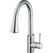 <strong>Belle Foret</strong> Single Handle Single Hole Spout Reach Pull Down Kitchen Faucet with Metal Lever Handle