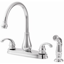 Treviso Two Handle High-Arc Centerset Kitchen Faucet with Side Spray