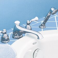 Standard Double Handle Deck Mount Bath Tub Faucet with Hand Shower