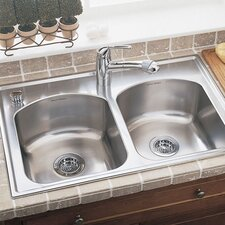 "Culinaire 33"" x 22"" Self-Rimming Top Mount Double Bowl Kitchen Sink"