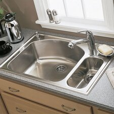"Culinaire 33"" x 22"" Top Mount Dual Level Kitchen Sink"