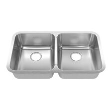 "Prevoir 32.88"" x 18.75"" Stainless Steel Undermount Double Bowl Kitchen Sink"