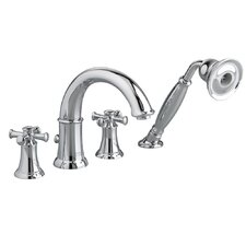 Portsmouth Double Handle Deck Mount Roman Tub Faucet Cross Handle