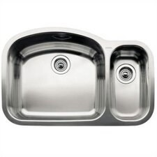 "Wave 32.09"" x 20.88"" x 10"" Bowl Undermount Kitchen Sink"
