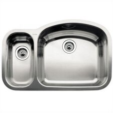 "Wave 32.09"" x 20.88"" x 8"" Reverse Bowl Undermount Kitchen Sink"