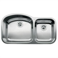 "Wave 37.41"" x 20.88"" x 10"" Bowl Undermount Kitchen Sink"