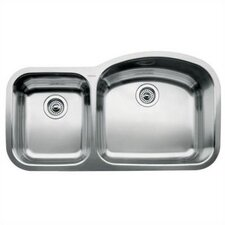 "Wave 37.41"" x 20.88"" x 10"" Reverse Bowl Undermount Kitchen Sink"