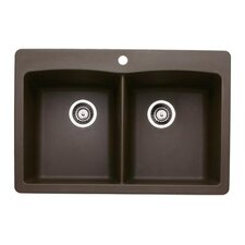 "Diamond 33"" x 22"" Double Bowl Drop-in Kitchen Sink"