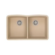 "Diamond 32"" x 19.25"" Equal Double Bowl Undermount Kitchen Sink"