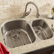 "<strong>Schon</strong> 34"" x 23"" Double Bowl 16 Gauge Kitchen Sink"