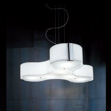 Tris 3 Light Compact Fluorescent Medium Pendant in Blown Glass with Sides