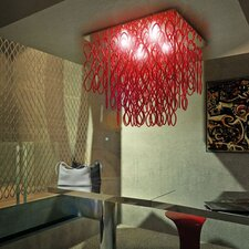 <strong>Studio Italia Design</strong> Lole 4 Light Water-Fall Ceiling Fixture with Hand Blown Glass