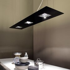 Zen-V 5 Light Rectangular Kitchen Island Pendant in Glass with Up and Down Light
