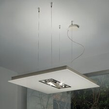 Zen-V 4 Light Square Kitchen Island Pendant in Glass with Up and Down Light