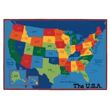 Printed USA Learn and Play Area Rug