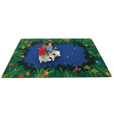 Printed Peaceful Tropical Night Blue Area Rug