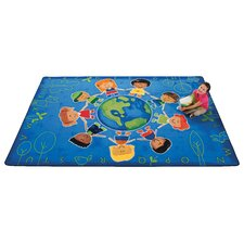 Printed Give The Planet A Hug Blue Area Rug