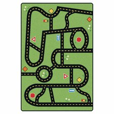 Printed Drive and Play Green Area Rug