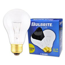<strong>Bulbrite Industries</strong> 25W Long Life General Service Standard A- 19 Incandescent Bulb in Clear (Pack of 2)