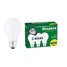40W General Service A19 Incandescent Bulb in Soft White (Pack of 3)