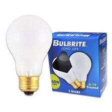 <strong>Bulbrite Industries</strong> 60W Long Life General Service Standard A19 Incandescent Bulb in Frost (Pack of 2)