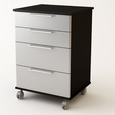 "35"" H x 23.69"" W x 20.56"" D 4 Drawer Cart Storage Cabinet"