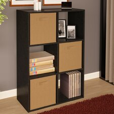 Storage Cubby Bookshelf with 3 Fabric Bins