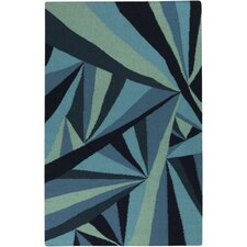 Voyages Navy/Teal Geometric Area Rug