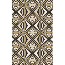 Voyages Beige/Black Geometric Area Rug