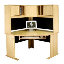 "<strong>Rush Furniture</strong> Modular Real Oak Wood Veneer 48"" W Panel Corner Desk Suite"