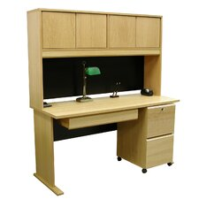 "<strong>Rush Furniture</strong> Modular Real Oak Wood Veneer 60"" W Panel Office Computer Desk Suite I"
