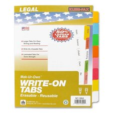 "Write-On Tabs,Erasable,Reusable,3HP,8-Tabs,11""x8-1/2"",Asst."