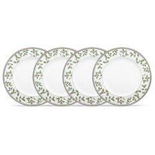 "Rochelle Platinum 9"" Holiday Accent Plate (Set of 4)"