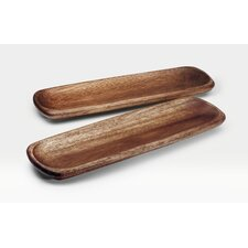 "Kona Wood 12"" Rectangular Platter (Set of 2)"
