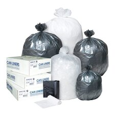 60 Gallon High Density Can Liner, 16 Micron in Clear, 25/Roll
