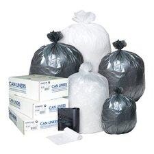 60 Gallon High Density Can Liner, 14 Micron in Clear, 25/Roll