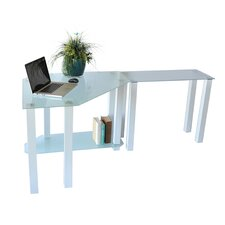 White Lines Corner Computer Desk with Modular Right Extension Table