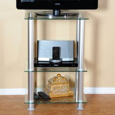 "<strong>RTA Home And Office</strong> Extra Tall Glass and Aluminum 20"" TV Stand"