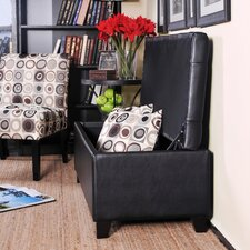 <strong>Handy Living</strong> Tufted Bench Renu Leather Storage Ottoman