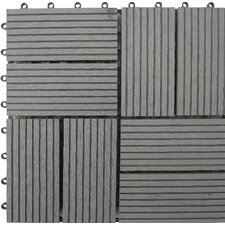 "Bamboo Composite 12"" x 12"" Deck Tiles in Grey"