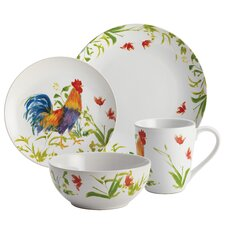 Meadow Rooster Stoneware 16-Piece Dinnerware Set