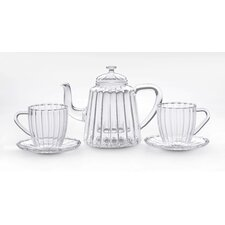 Oblong Ribbed Teapot with Cup & Saucer Set