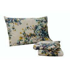 <strong>Tribeca Living</strong> Casablanca 300 Thread Count Floral Printed Deep Pocket Sheet Set