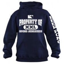 Property of BPONG Athletics Hoodie with Sleeve Imprint in Navy