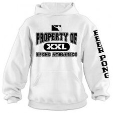 Property of BPONG Athletics Hoodie with Sleeve Imprint in White